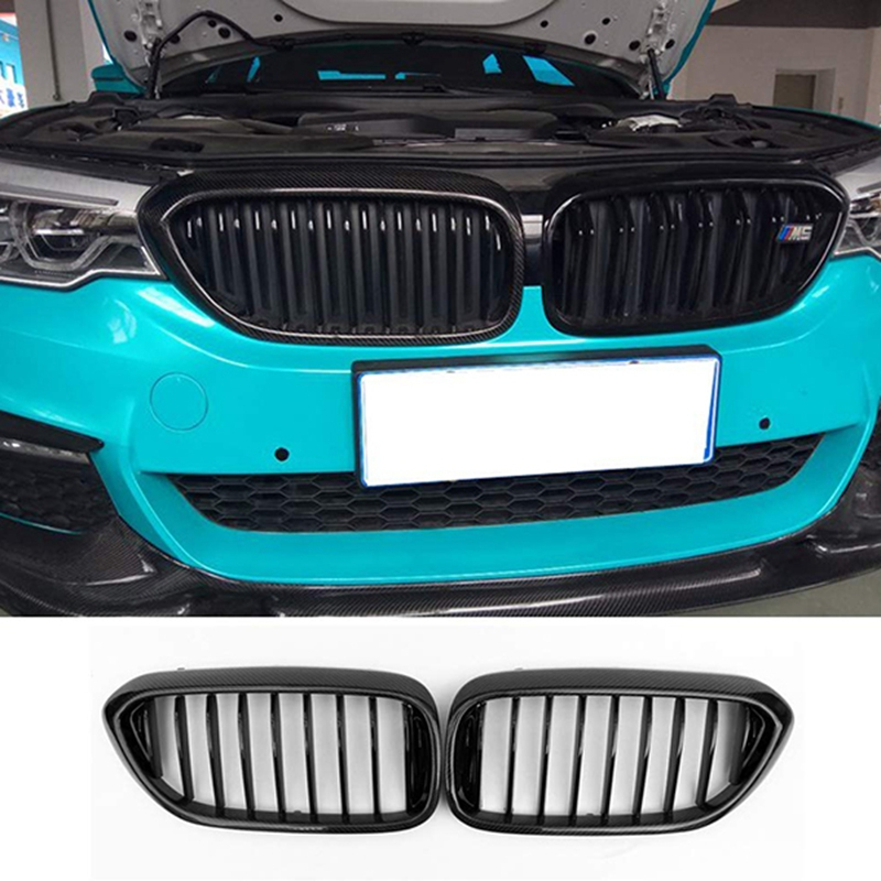 Replacement Gloss Carbon Fiber Front Bumper Grille Kidney Grill for BMW 5 Series G30 G31 F90 M5 2017 2018 1-Slat Grille Mesh