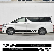 2PCS רכב צד חצאית מדבקות עבור טויוטה Alphard Vellfire TRD MVP דגם מכתבי פסי מירוץ ספורט DIY רכב כוונון אבזרים