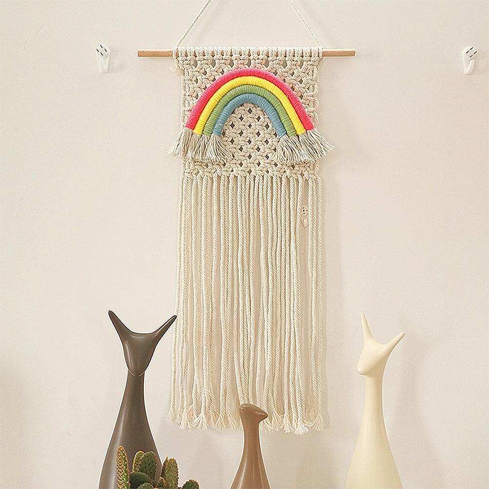 Макраме плетеная на стену Радужная богемная комната геометрическое