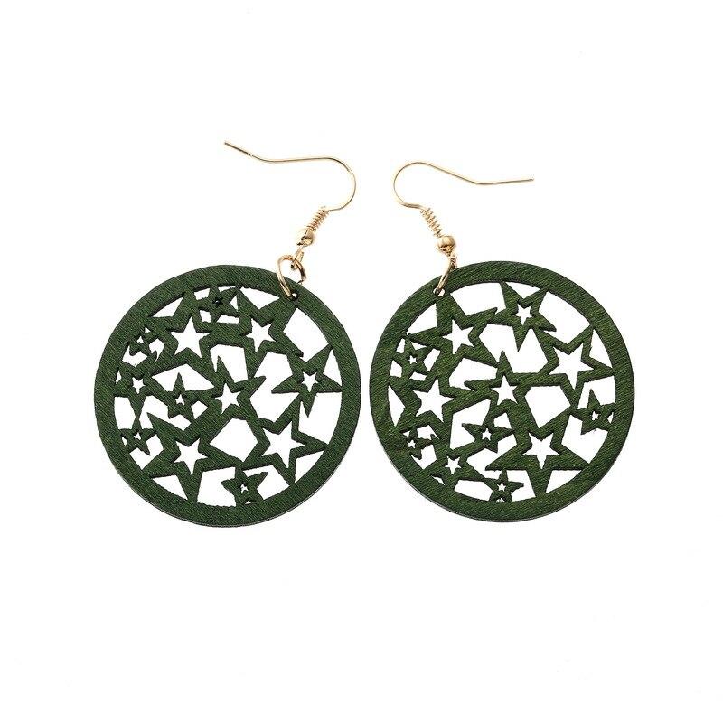 Geometric Round Star Hollow Wood Earrings Vintage Fashion Multicolor Dangle Earrings Women Trend Ethnic Jewelry Travel Souvenir