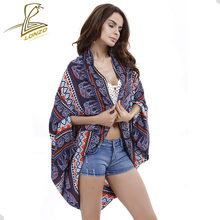 Lonzo Bikini Cover Up Pantai Wanita Sunscreen Selendang Seksi Panjang Cetak Cardigan Mantel LCP68(China)
