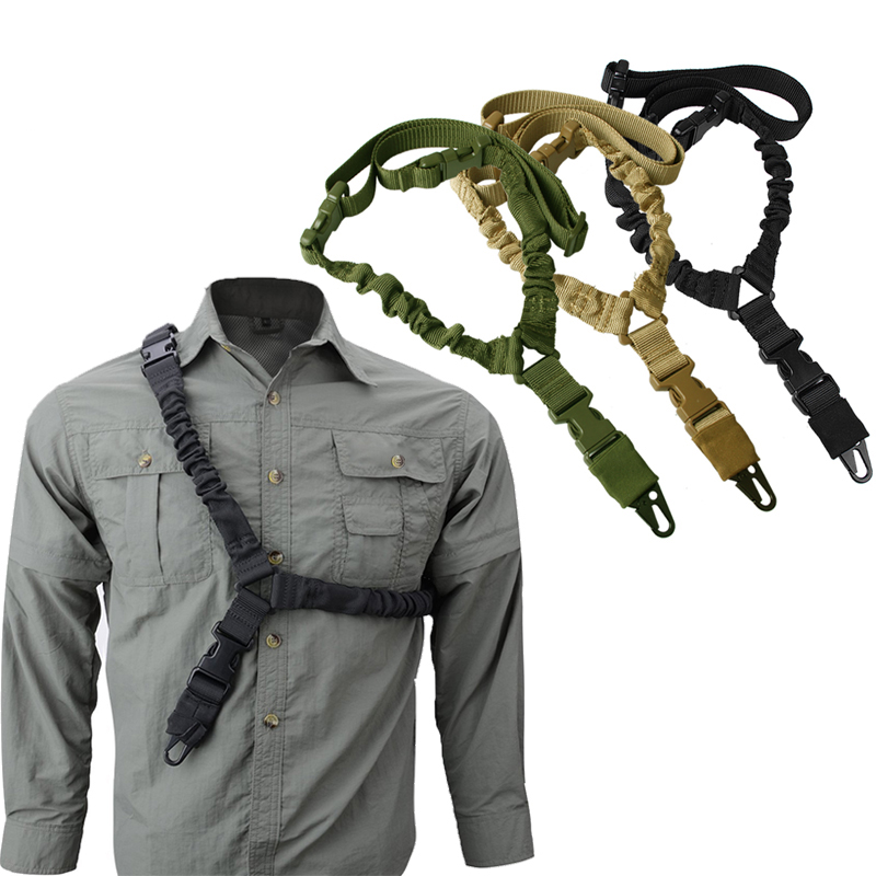 Adjustable Tactical Gun Sling Belt Single Point Heavy Duty Mount Bungee Military Rifle Sling Kit Airsoft Strap Sling Lifesaving