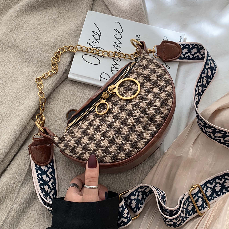 Louis Brand High Quality Designer Shoulder Wool Hobos Mini Handbag Casual Tote Striped Purses Chest Bag Winter Wide Strap Chain
