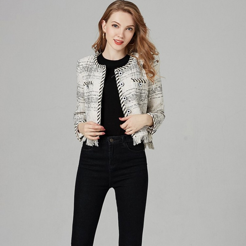Women 2020 Autumn New Tassels Fringed Tweed Jacket Short Slim Fit Office Ladies O Neck Long Sleeve Spliced Twill Party Coat