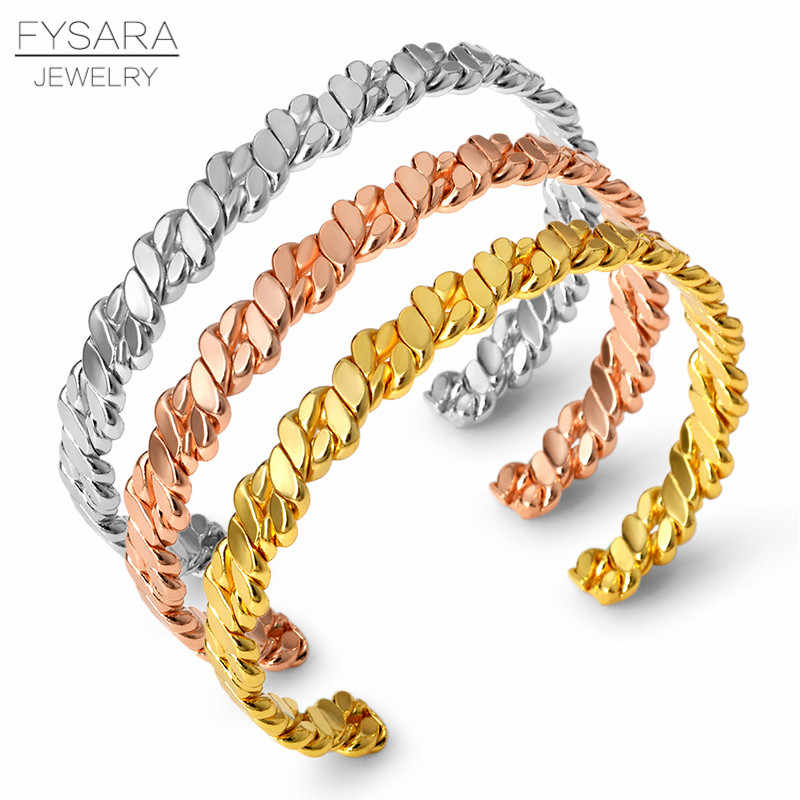 FYSARA Vintage Twisted Bracelets Chain Design Bangles for Women Gold Color Adjustable Open Cuff Bracelets Men Minimalism Jewelry