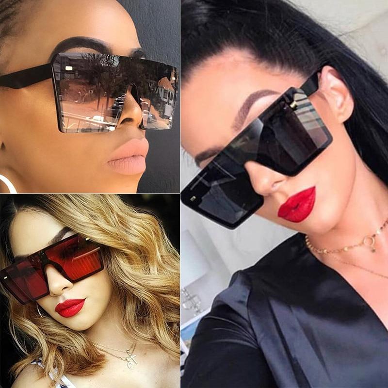 Car Motorcycle Windproof, UV Resistant SunglassesFashion Oversize Square Sunglasses Women Fashion Flat Top Gradient Glasses Men