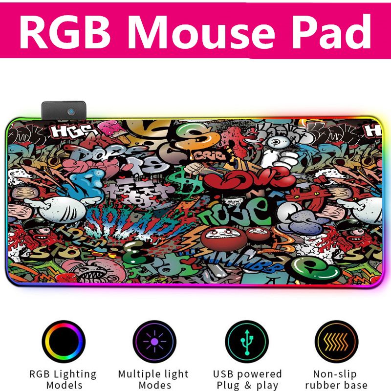 RGB Mouse Pad Gaming Mouse Pad Gamer Large Mousepad RGB Mouse Mat XXL Mause Mat Computer Gaming Accessories PC Keyboard Desk Mat