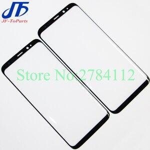 """Image 1 - 10 pièces écran tactile de remplacement pour Samsung Galaxy S8 G950 G950F 5.8 """"/S8 + Plus G955 6.2"""" noir avant extérieur verre OCA couvercle de lentille"""