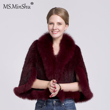 Outwear Poncho Mink-Fur-Coat Women Trimmed Fox-Fur Natural Sleeveless Ms.minshu