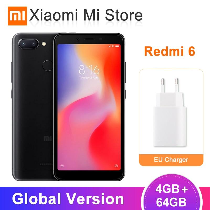 Global Version Xiaomi Redmi 6 4GB 64GB Mobile Phone Helio P22 Octa Core CPU 5.45