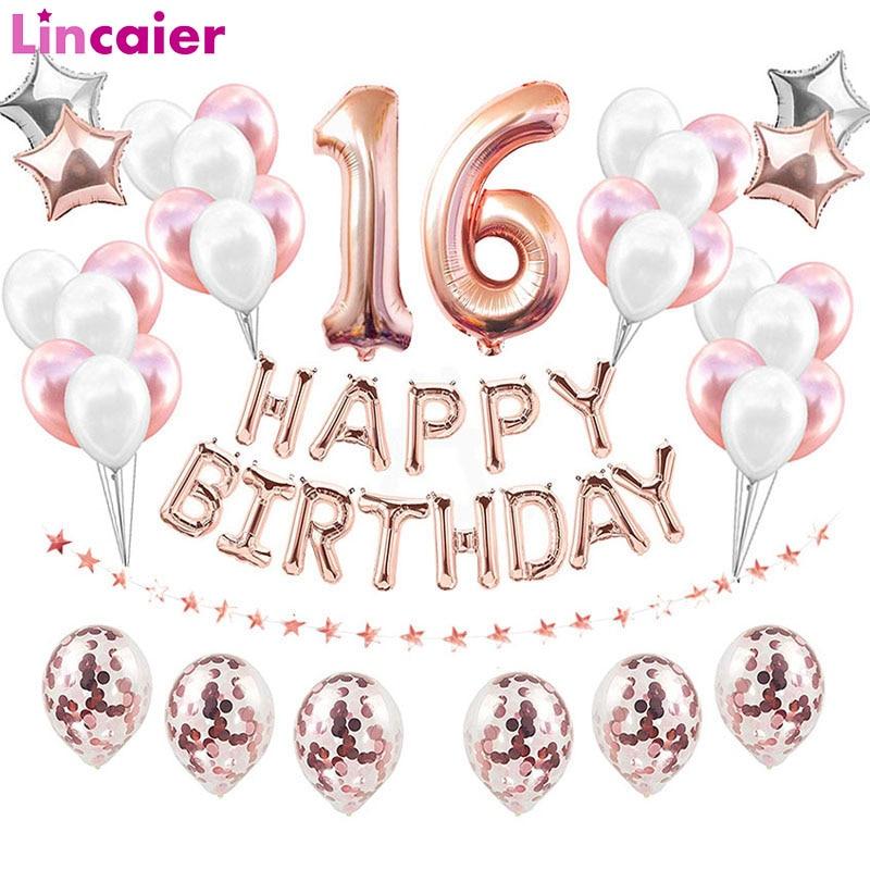 38 pçs feliz aniversário doce 16 decorações de festa balões número 16th anos de idade menino menina aniversário dezesseis aniversário suprimentos