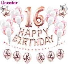 38 pçs feliz aniversário doce 16 decorações de festa balões número 16th anos de idade menino menina dezesseis 61th 61 aniversário suprimentos
