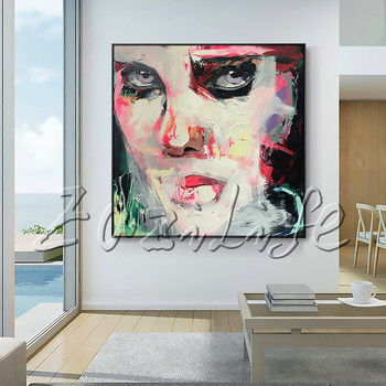 Portrait Face Fair-skinned Gril Palette knife Oil painting christmas figure canva Hand painted Francoise Nielly wall Art picture