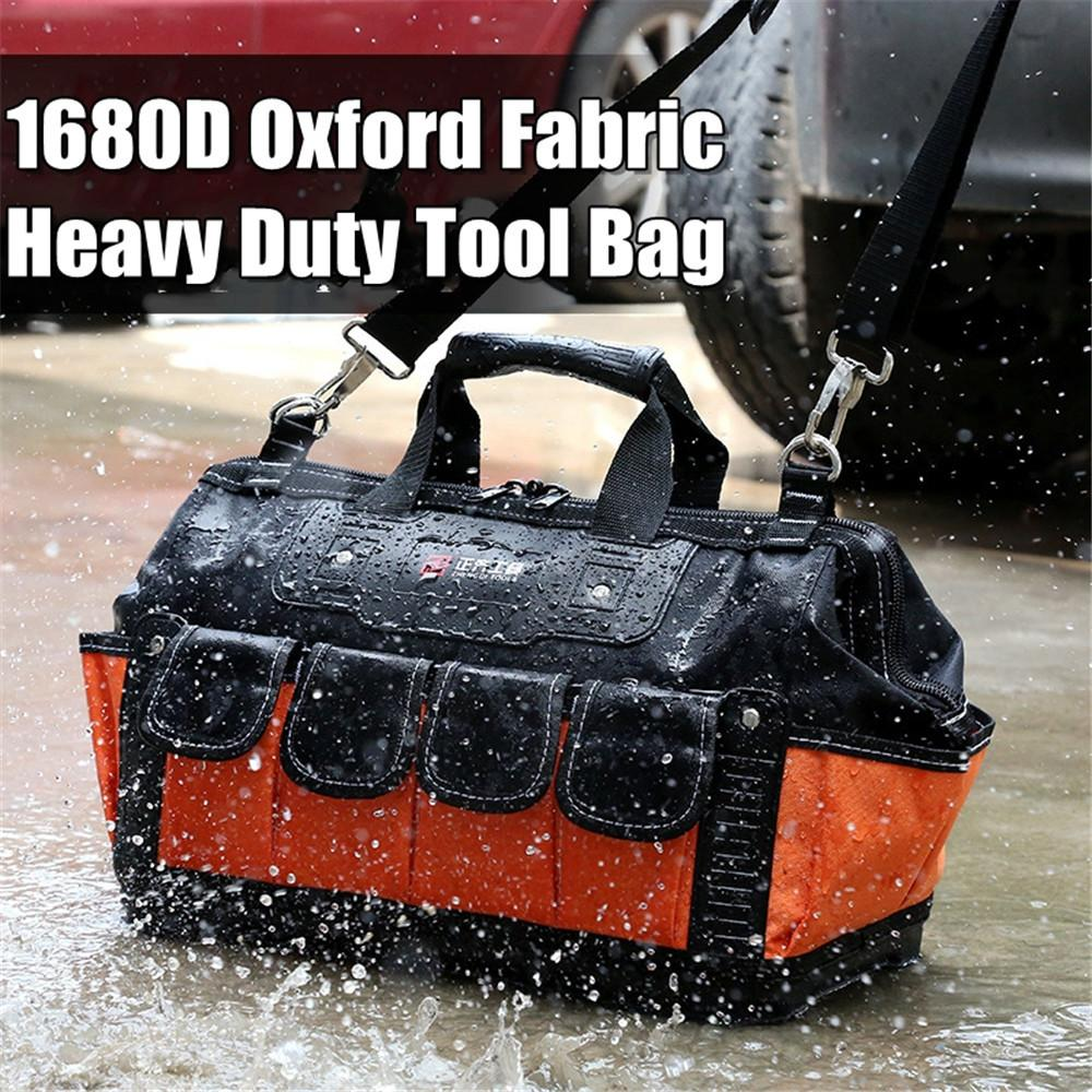 Tool Bag Electrician Toolbag Thicking 1680D Oxford-cloth Waterproof Repair Storage Tool Belt Work Bag 13 15 16 17 18 20inch