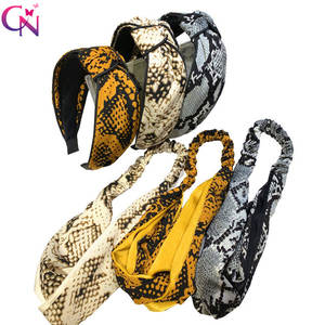 CN Headbands Elastic Hair-Accessories Wide-Hairband Stretch Knot Snake-Pattern Girls