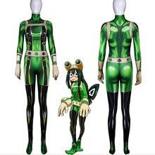 Anime My Hero Academia Cosplay Costumes Tsuyu Asui Costume Fighting Uniforms Halloween Party Boku No Women