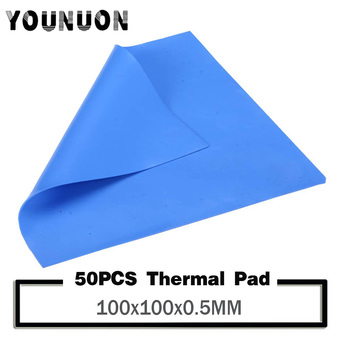 50PCS YOUNUON 100x100x0.5mm Thermal Pad 100x100mm 0.5mm thickness Silicone Thermal Pad Sheet Computer CPU Graphics Chip HeatSink