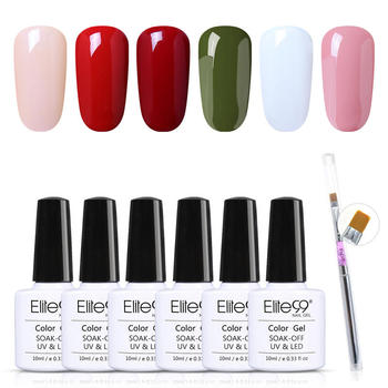 (6 uds) Elite99 10ML uñas Kits de arte puro esmalte de uñas de Gel de colores + uñas pluma remojo LED UV barniz de uñas Primer esmalte Base Gel