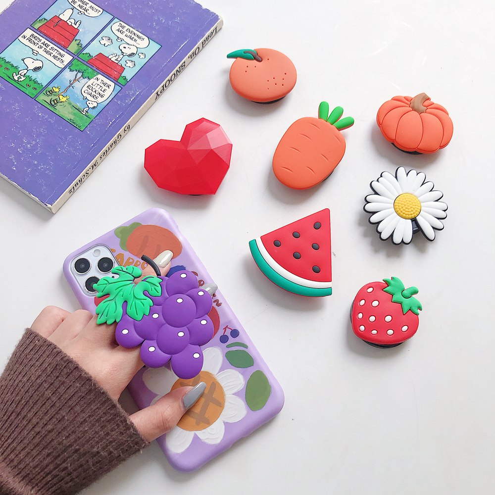 Cute Cartoon Fruit Avocado Universal Mobile Phone Ring Holder Fold Expanding Stand Bracket For IPhone 11 X Samsung Huawei Xiaomi