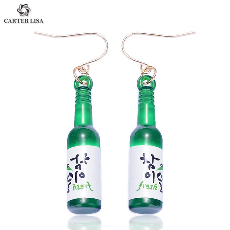 CARTER LISA Women Unique Kawaii Miniature Beer Bottle Pendant Drop Dangle Earrings For Women Fashion Jewelry Accesorios Mujer