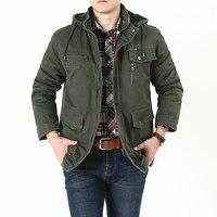 men's long cotton fur coat hooded windbreaker winter wear middle aged fashion clothing standing collar multiple pockets detachab
