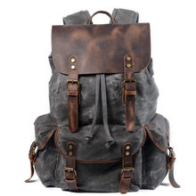 "Cotton Oil Wax Canvas Backpack Mens Large Capacity Vintage Waterproof Backpack 15"" Laptops Daypacks Rivets bookbag(China)"