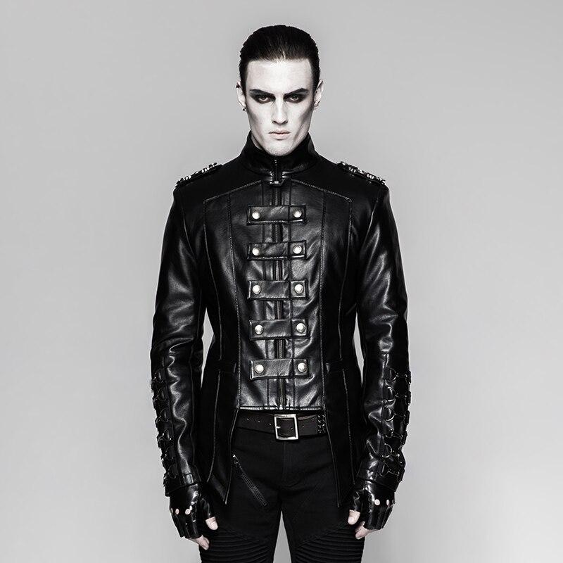 PUNK RAVE hommes lourd Punk métal militaire uniforme court manteau Stand-up col personnalité moto hommes hiver noir veste