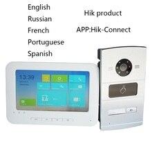 Pacote de kit de vídeo porteiro ip hik, multilíngue hd, painel rfid e monitor wi fi, telefone da porta de campainha ip, à prova dwaterproof água
