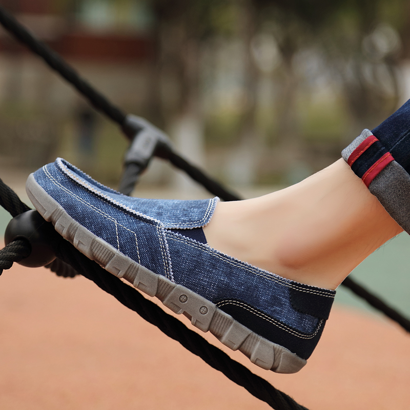 Canvas Shoes Men Summer Breathable Slip On Vintage Male Loafers Casual Fashion Mens Espadrilles Man Denim Shoe Big Size