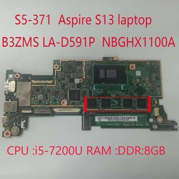 Placa base B3ZMS LA-D591P para Acer Aspire S13 swift S5-371, NBGHX1100A, con...