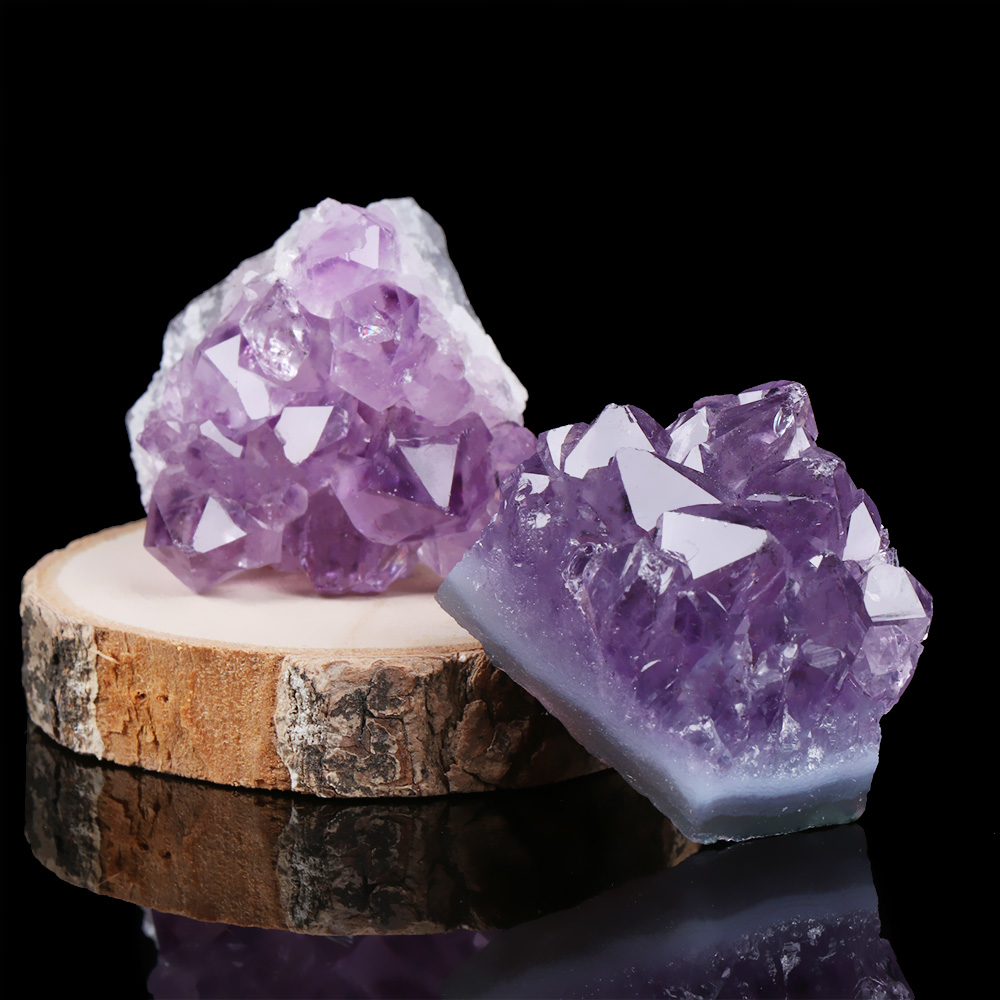 1PC Natural Amethyst Cluster Quartz Crystal Mineral Specimen Healing Stones Gift Rough Ore Geography Teaching Dream Home Decor 1