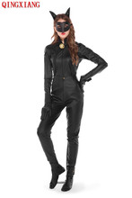 S-XL 2019 Night Club DS Jumpsuit Sexy Heavy PU Cat Women Catsuit Cosplay Costume Bodysuit Devil Thick Faux Leather Lingerie Set цена и фото