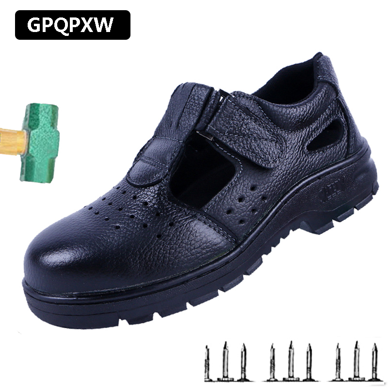 Summer Mesh Sandals Work Boots Outdoor Anti-smashing Anti Puncture Breathable Safety Shoes Men's Non-slip Wear Men's Shoes