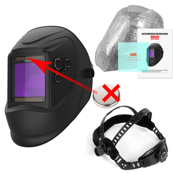 YESWELDER Large Screen Welding Mask True Color Welding Helmet Solar Auto Darkening Weld Hood without Battery 12