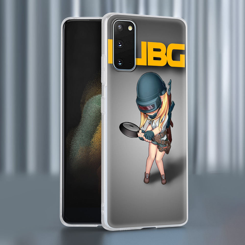 Case For Samsung Galaxy S20 FE S21 Ultra S9 S10 Plus Note 20 10 Lite Soft Frosted Phone Cover S7 Funda Cute Q Version PUBG Game