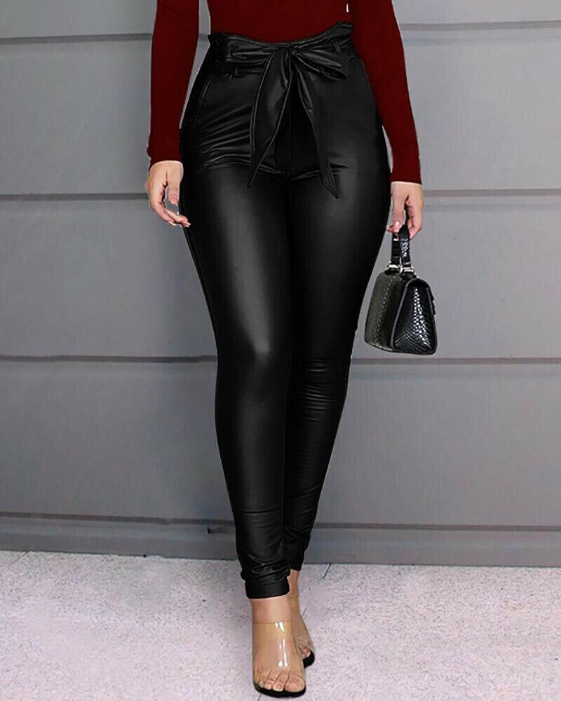 Vintage Stylish Pu Leather Pockets Pants Women 2020 Fashion Elastic Waist Drawstring Blow Tie Ankle Trousers Pantalones Mujer