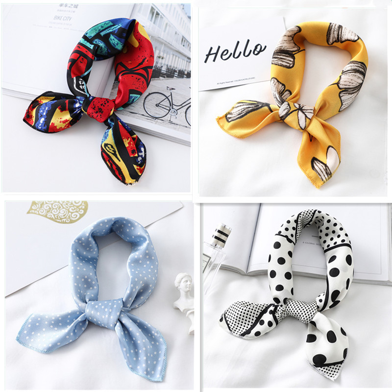 2020 Small Silk Hair Scarf Women Foulard Neck Wrap 50cm Square Kerchief Soft Bandana Leopard Print Lady Head Band Scarves Tie
