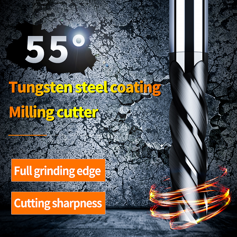 Cnc Fraise Router Bit Carbure End Mill Metal Cutter HRC55 4 Flute 2mm 3mm 4mm 6mm 8mm 10mm Alloy Carbide Milling Cutter End Mill