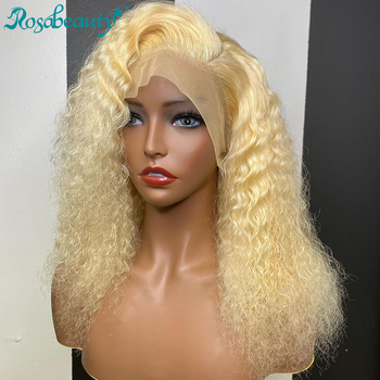Rosabeauty HD Transparen 613 Blonde Deep Wave Lace Front Human Hair Wigs Brazilian Short Bob Remy Frontal Water Curly Wig image