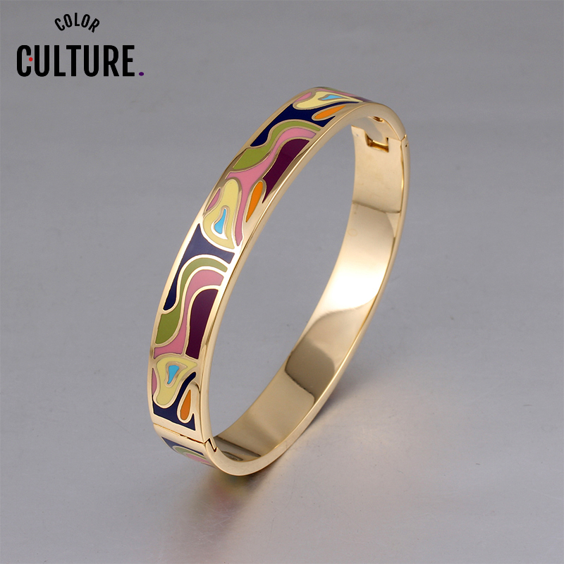 Fashion Charms Bracelet For Women Gold Geometric colorful Couples Enamel Bangle designs New Year Gifts(China)