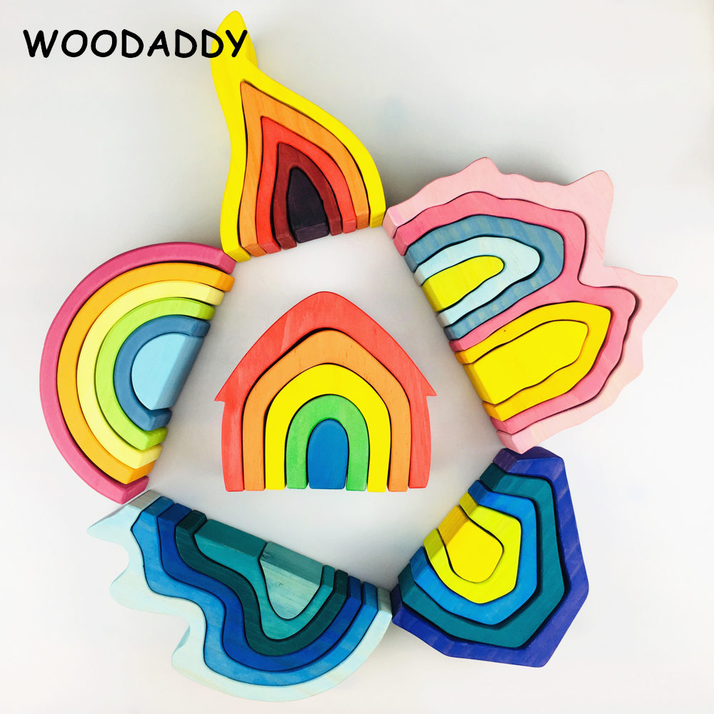 Dropshipping Elemental Building Blocks Earth/ Volcano/Coral/House Rainbow Blocks Wooden Toys For Kids Educational Birthday Gift