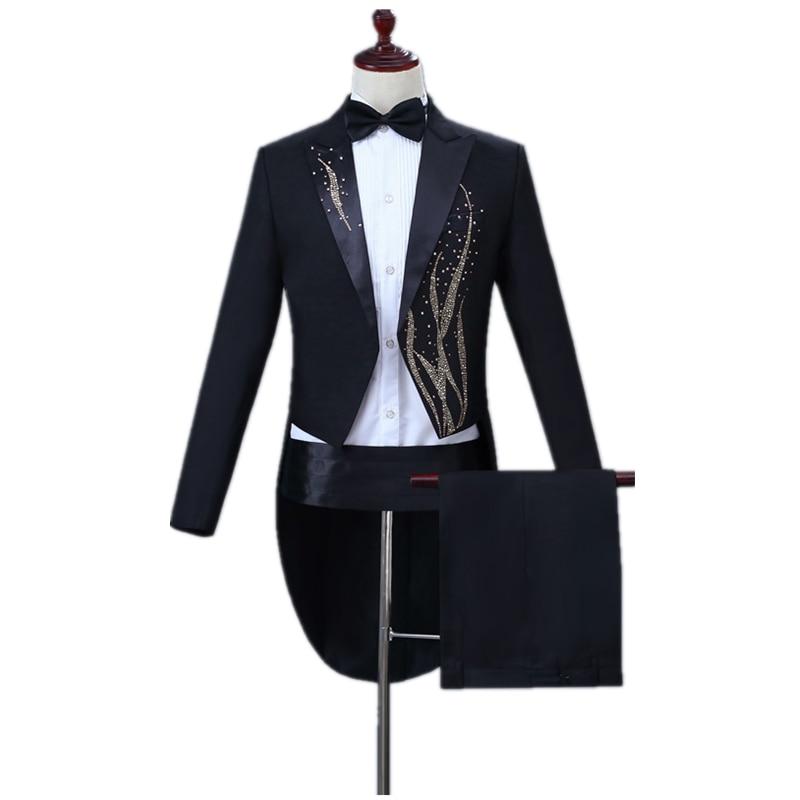 Stage Singer Wedding Groom Set Men's Classic Black Tuxedo Suit Set (tail Coat+belt+pant) Slim Lapel With Diamonds Adorn Tuxedo