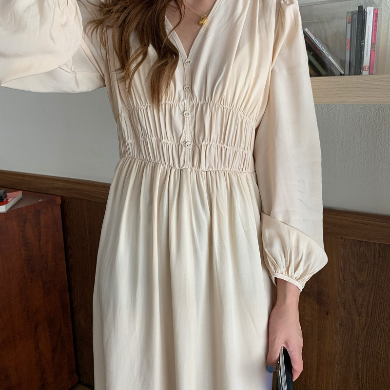 H41afb06e76a8435c84e55aac28aa29055 - Autumn V-neck Long Sleeves Pleated Waist-Controlled Solid Loose Dress