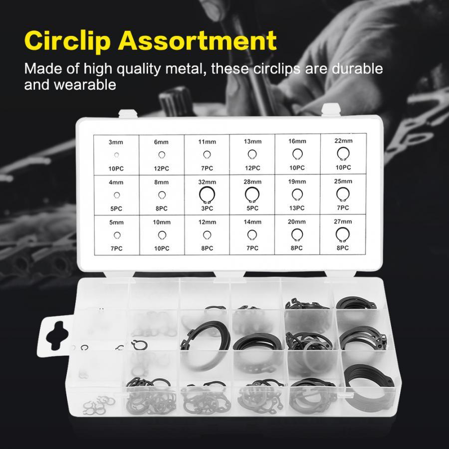 32mm 18 Sizes Snap Retaining Ring Circlip Assortment Set 1 Box 3mm 150Pcs Circlips