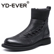 Winter Boots Men Fashion Zipper Motorcycle Ankle Boots Short Plush Warm 100% Real Leather Booties High Top Casual Man Footwear(China)