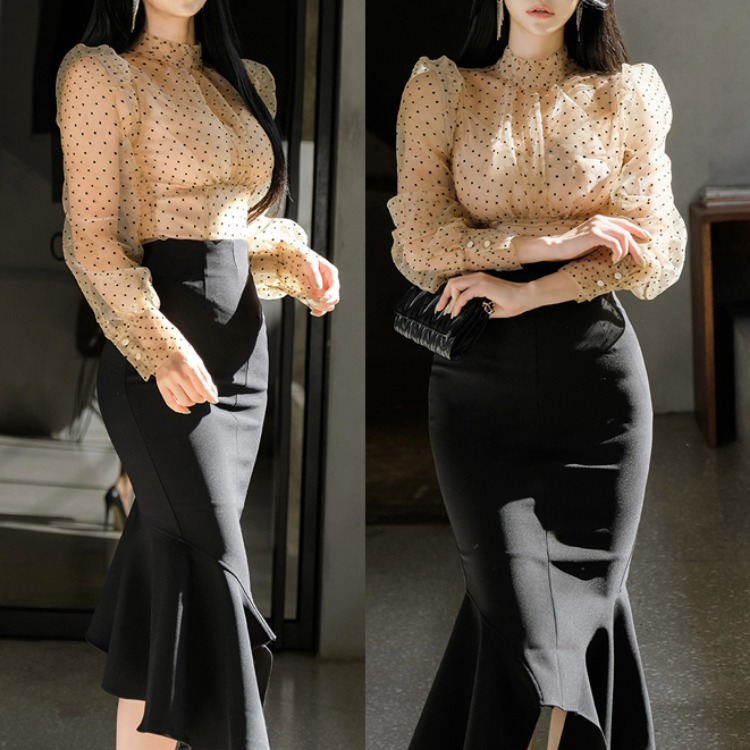 2020 New Style Two-Piece Set Elegant Transparent Slim Fit Polka Dot Tops + Fashion Flounced Skirt Set