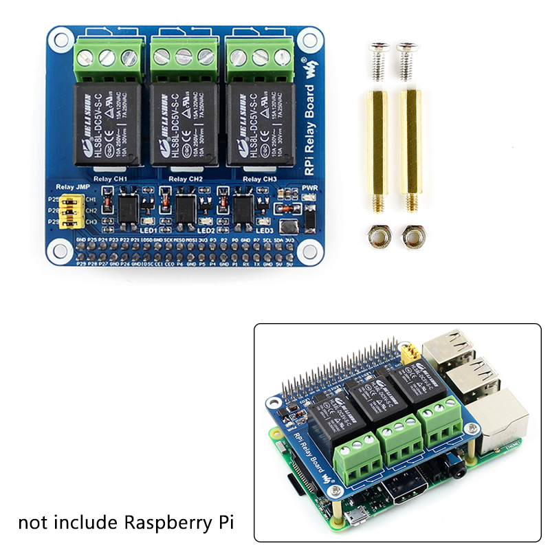 Raspberry Pi 4B 3 Channel Relay Expansion Board Strong Electricity 3 Way Relay Controls Module For Smart Home