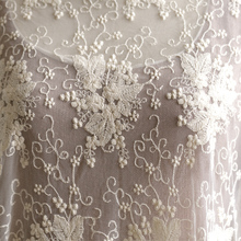 Beautiful 135cm Width 1M/lot 3D Embroidered Beige/White Lace Fabric Soft Net Fabric Sewing Curtain DIY Craft Accessory X645
