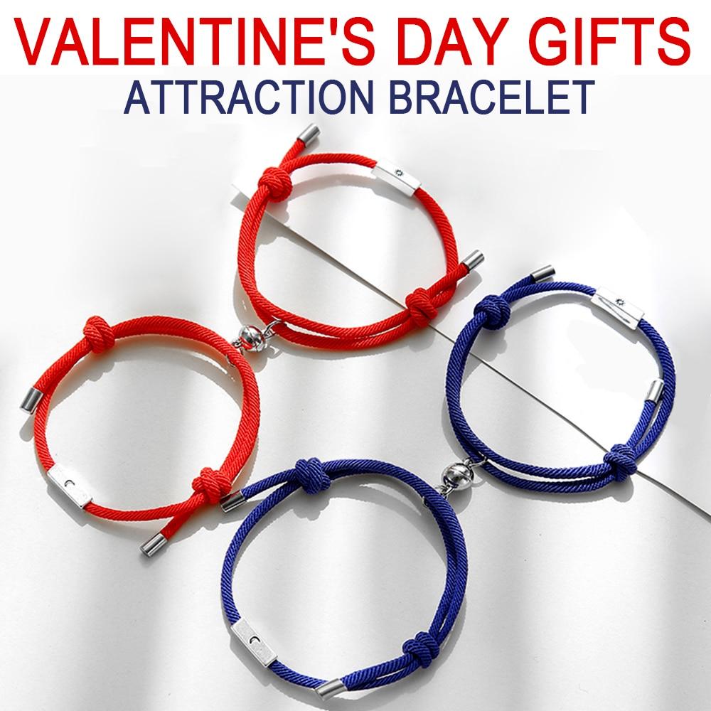 Valentine's day gifts Sun Moon bracelet Charm Adjust size magnet Bracelet for Couples Red Rope bracelet jewelry2pcs/set