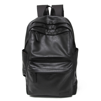 New Fashion Men's Vintage Backpacks For Teenager High Quality PU Leather Backpacks Male High Capacity Travel Backpacks фото